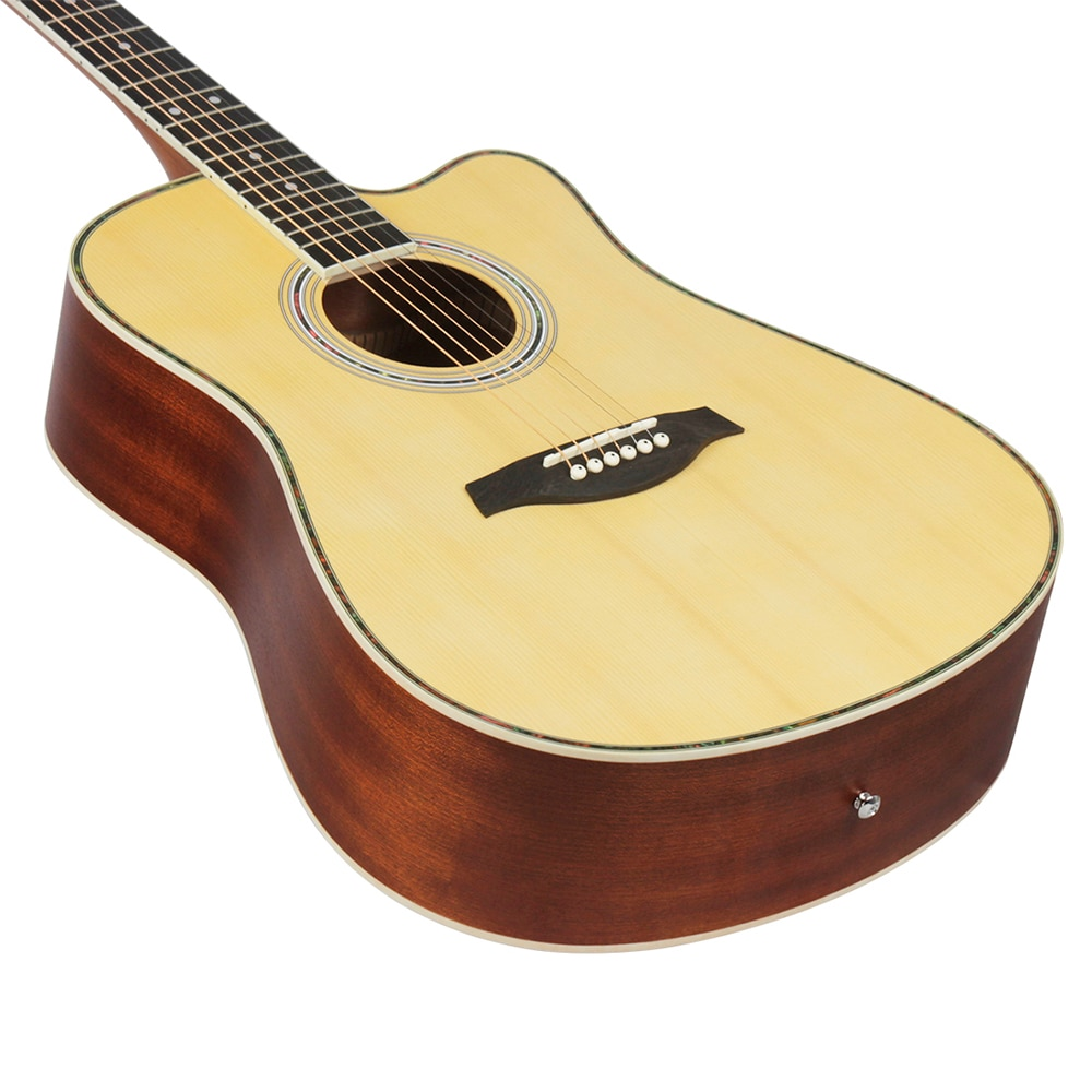 41 Inch Acoustic Guitar Spruce Panel 6 Strings Folk Guitar Beginners Musical Instrument Wood Color Guitar With Capo Picks Bag enlarge