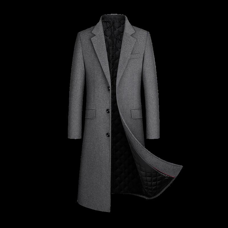 معطف صوف جديد للخريف والشتاء ، محتوى من الصوف 30% ، سترة واقية للرجال ، معطف صوف طويل يصل إلى الركبة ، معطف سميك ،