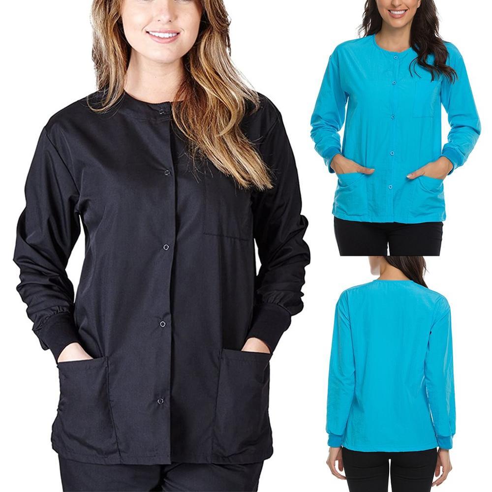 Women Nursing Uniform Blouse Scrub Tops Long Sleeve O-neck Button Clothing Health and Beauty Work Wear Jacket With Pocket 3FM