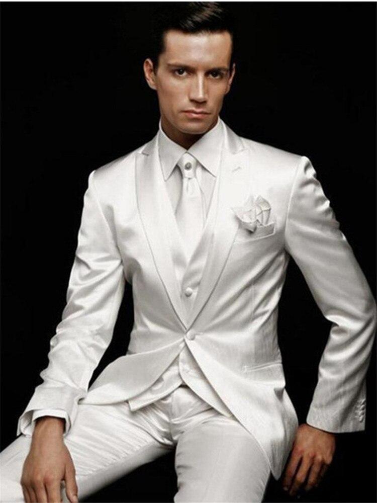 بدلة زفاف بيضاء مع طية صدر السترة للرجال ، بدلة رسمية مخصصة بزر واحد ، طقم من 3 قطع (جاكيت ، بنطلون ، سترة)
