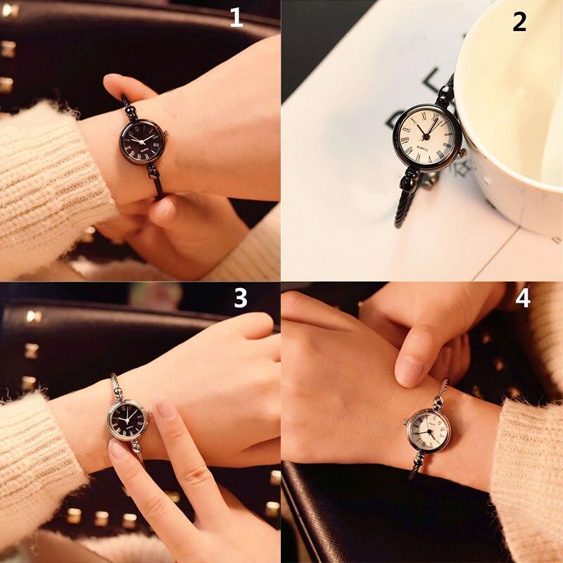 1 Pcs Women Lady Girl Student Wrist Quartz Watch Mini Round Alloy Vintage Gift SEC88