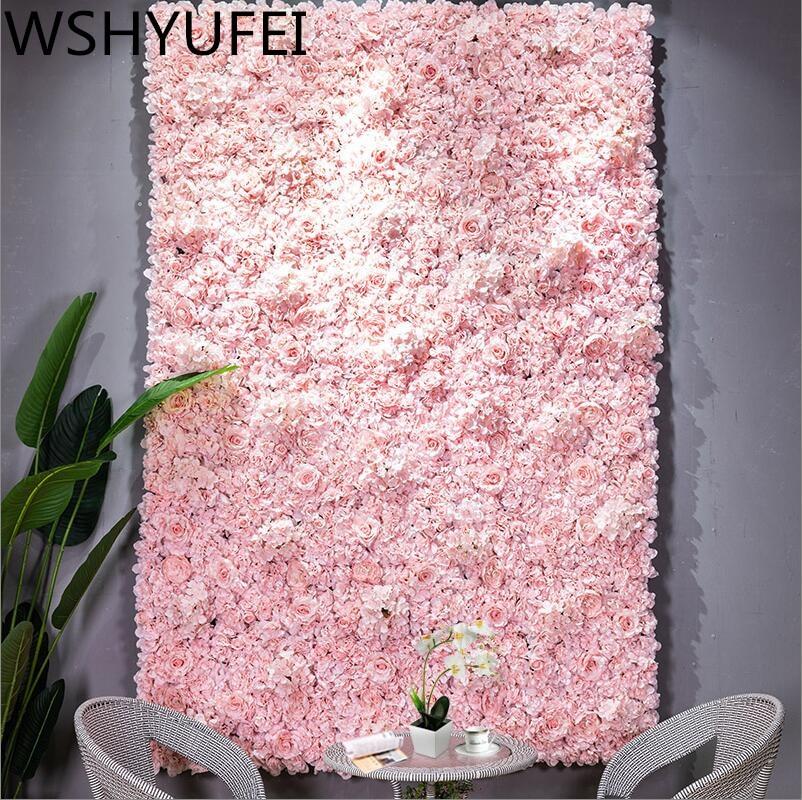 Decoración de pared de flores artificiales de 60x40cm, camino de plomo, Hortensia, flor de peonía rosa, estera, arco de boda, Pabellón, esquinas, decoración floral