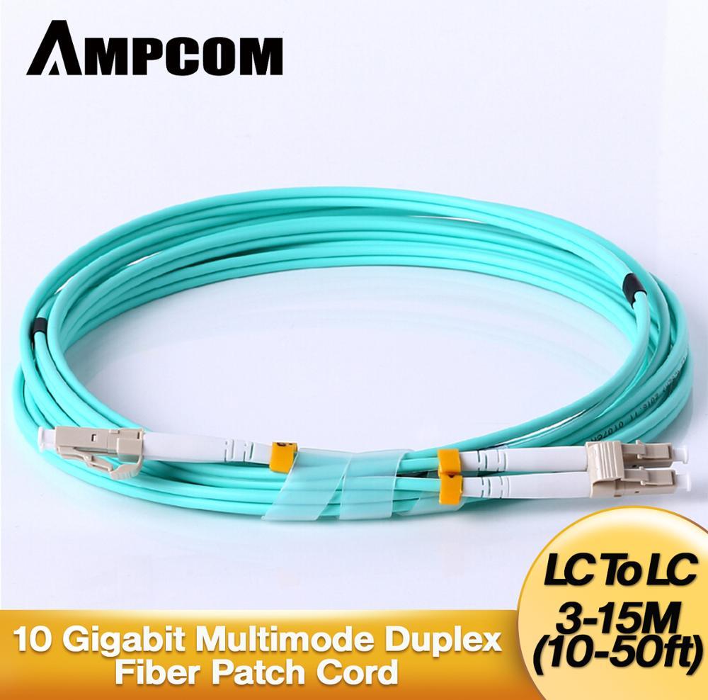 Fiber Patch Cable, AMPCOM 10G Gigabit Fiber Optic Cables with LC to LC Multimode OM3 Duplex 50/125  LSZH armoured armored patch cord fc lc lc fc multimode om3 50 125 duplex goodftth 20 100m