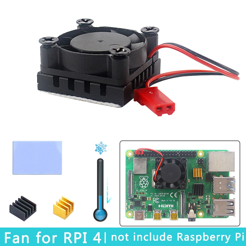 Raspberry Pi 4 Cooling Fan + Aluminum Metal Heat Sink CPU RAM Cooler for Raspberry Pi 4 Model B