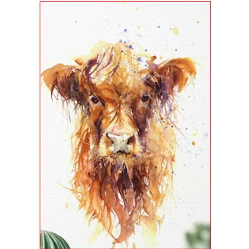 Pintura por números DIY Dropshipping tamaño grande una vaca sucia Animal lienzo habitación decoración arte imagen regalo para niños