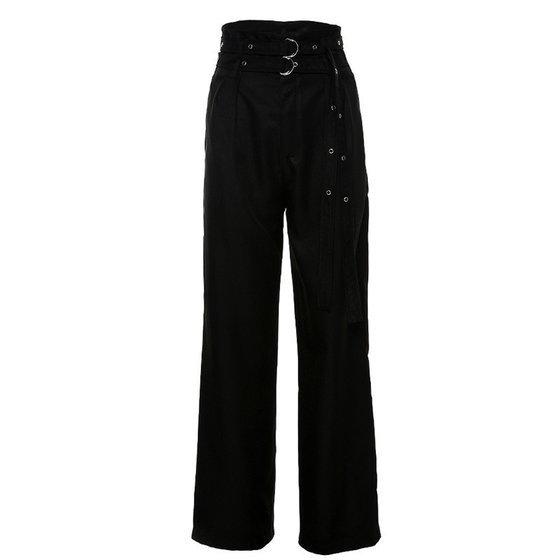 Spring and Autumn 2020 New Women's Fashion High Street All-match High Waist Waist Lace Wide Leg Black Casual Pants Loose Slim