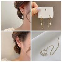 koj korea pearl small hoop earrings for women fancy circle tassel copper earringsclip ins elegant pearl boucle jewelry %d1%81%d0%b5%d1%80%d1%8c%d0%b3%d0%b8