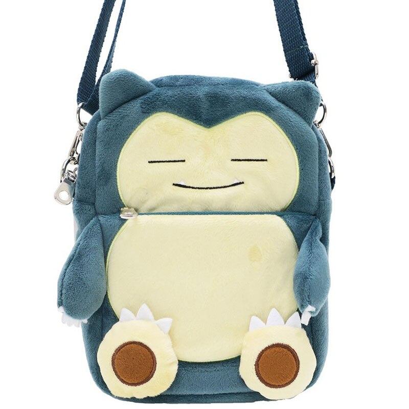 Adorable caricatura Pokémon bolsillo monstruo Snorlax PANA bolso mensajero bordado pequeño teléfono bolso juguete bolso regalo