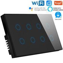 Ue 146mm wifi touch screen 8 gang interruptor de parede inteligente de vidro sem fio interruptor de temporização luz tuya app interruptor remoto com google alexa