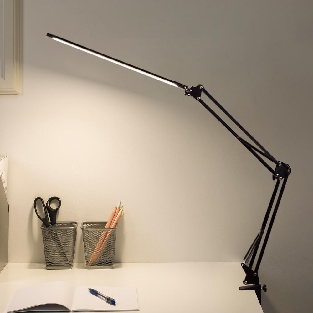 عكس الضوء LED للطي مكتب معدني مصباح كليب على ضوء المشبك الذراع الطويلة يعتم الجدول مصباح 3 ألوان لغرفة المعيشة مكتب القراءة