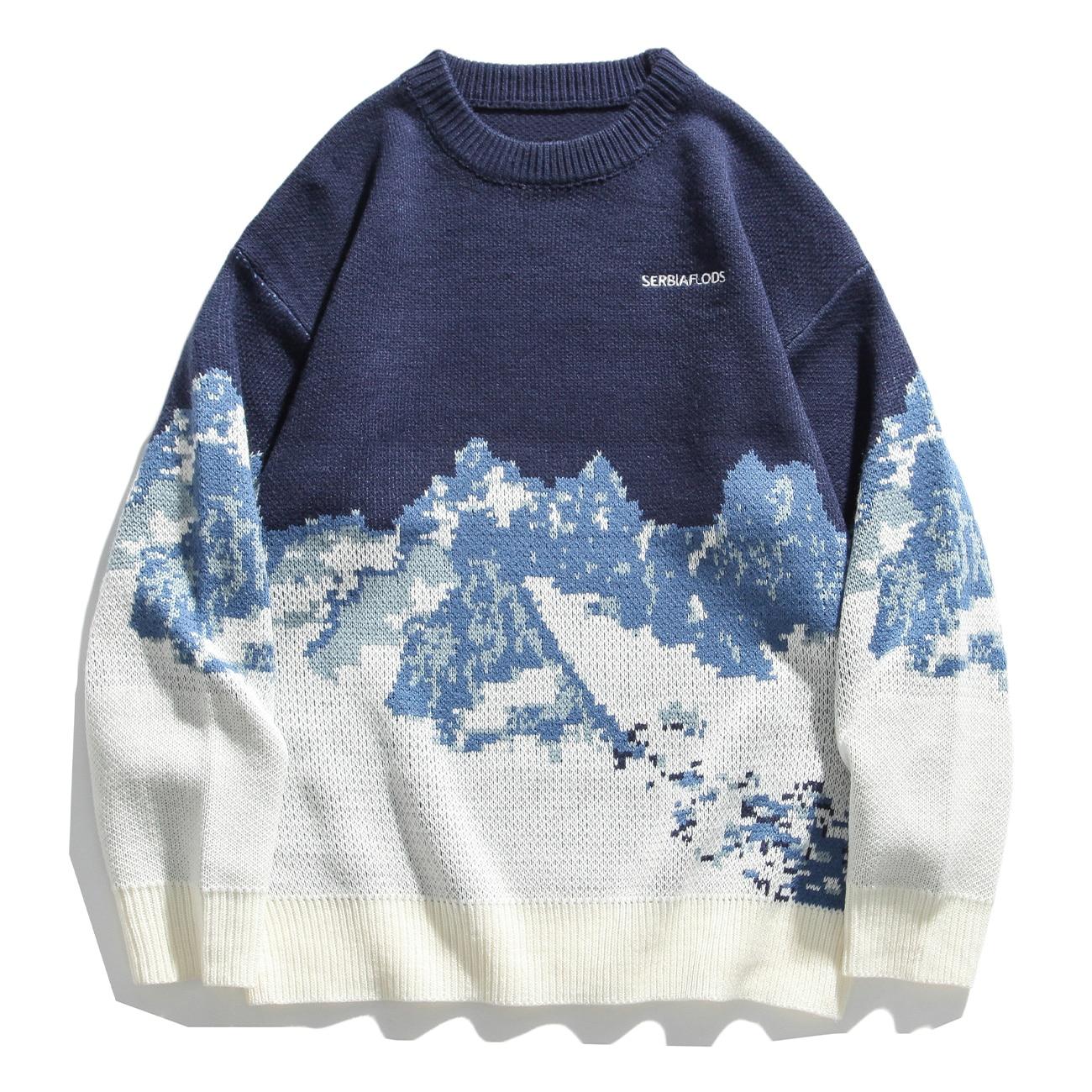 سترة هيب هوب للرجال والنساء ، ملابس الشارع ، جبل الثلج ، محبوك ، سترة هاراجوكو ، كنزة صوفية كبيرة الحجم ، ملابس خارجية