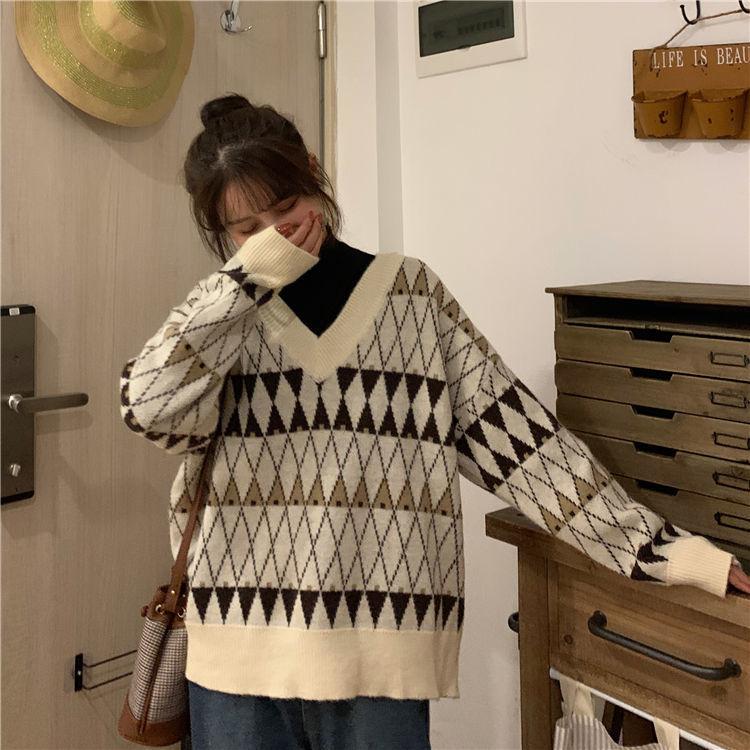 Jacquard con cuello en V para mujer Jersey holgado abrigo coreano para...
