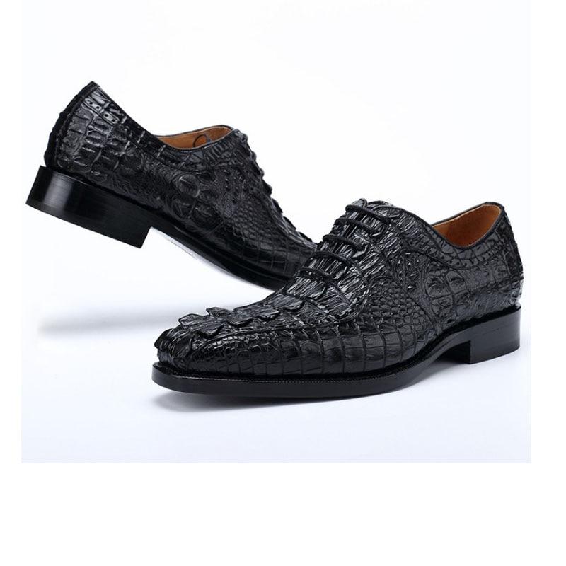 Hujingsha-أحذية جلدية التمساح للرجال ، أحذية عمل عصرية ، مقاومة للاهتراء ، قابلة للتنفس