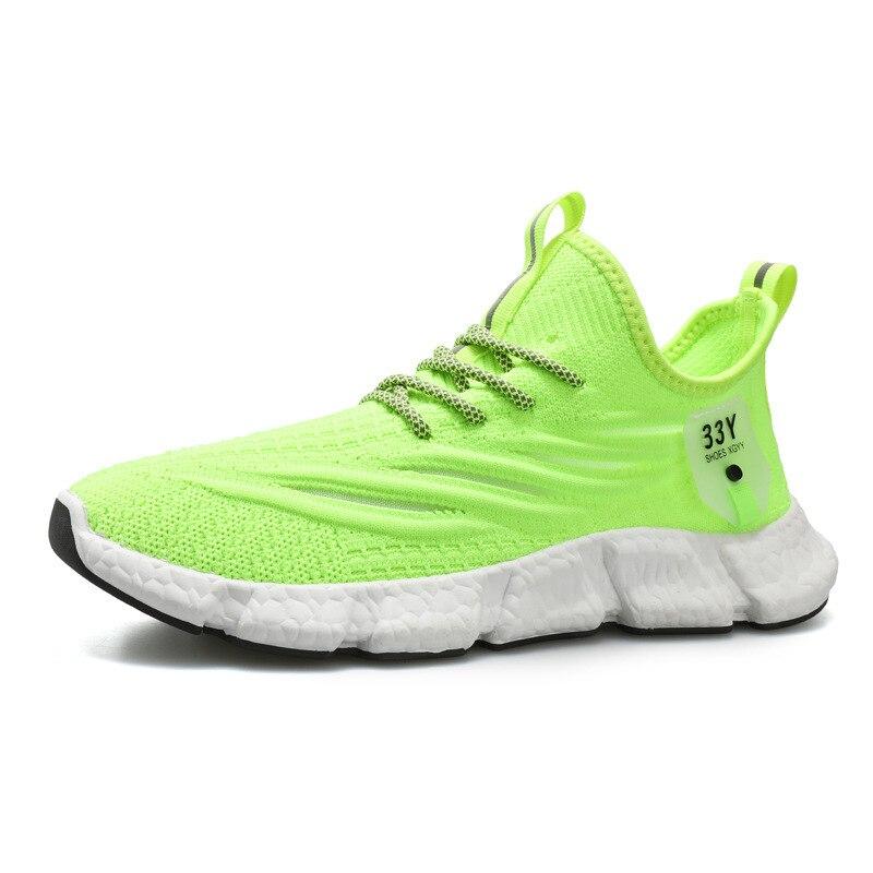 Zapatillas ligeras para correr para hombre, calcetín de tejer, zapatos planos sin cordones, mocasines de talla grande, zapatos planos para caminar para primavera y verano