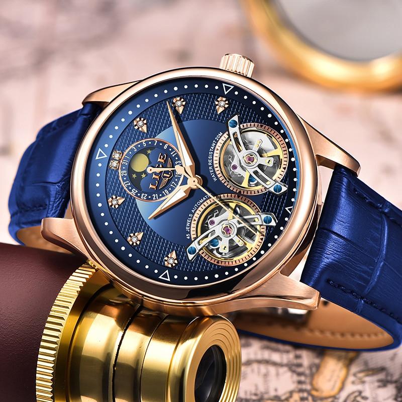 Reloj lige duplo tourbillon suíça relógios masculinos relógio automático auto-vento moda relógio de pulso mecânico de couro