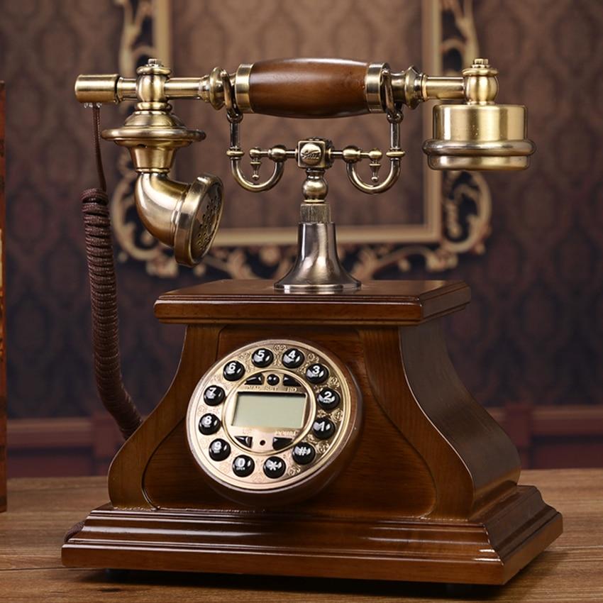 ريترو زر الاتصال الهاتفي هاتف سلكي المنزل مكتب ديكور الهاتف الثابت مع معرف المتصل ، إعادة الاتصال ، الخلفية ، الهاتف الخشب