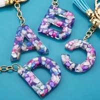 new fashion tassel womens jewelry a z 26 letters initials resin handbag car pendant cute keychain accessory gift