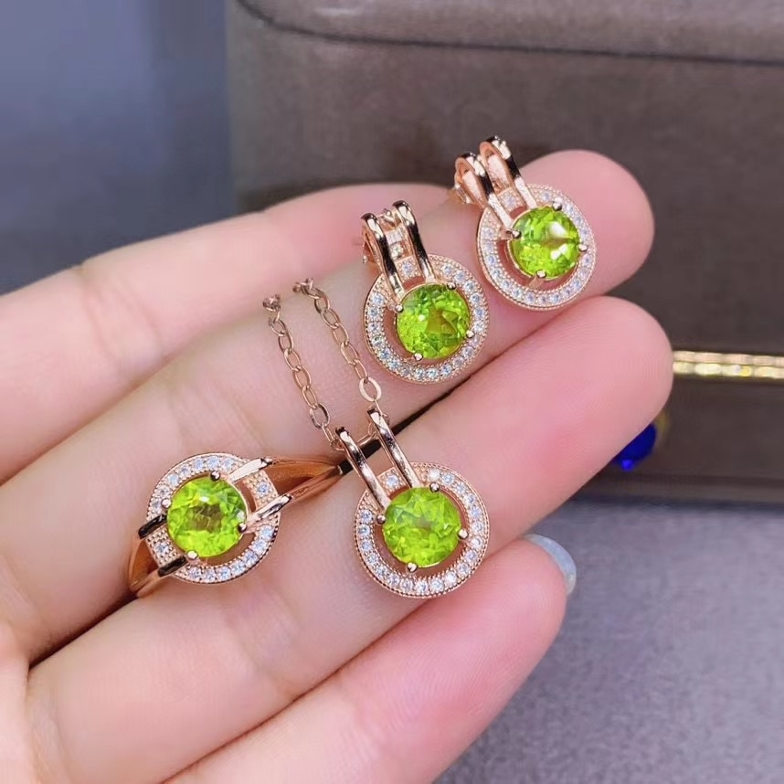 KJJEAXCMY fine jewelry 925 sterling silver natural Peridot earrings ring pendant classic ladies suit support testing