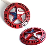 2x red lone star silver edition texas emblem metal alloy badge universal