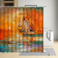 oil painting shower curtain sailing boat lavender sunflower hanada polyester waterproof cloth bathtub decor screen can be washed