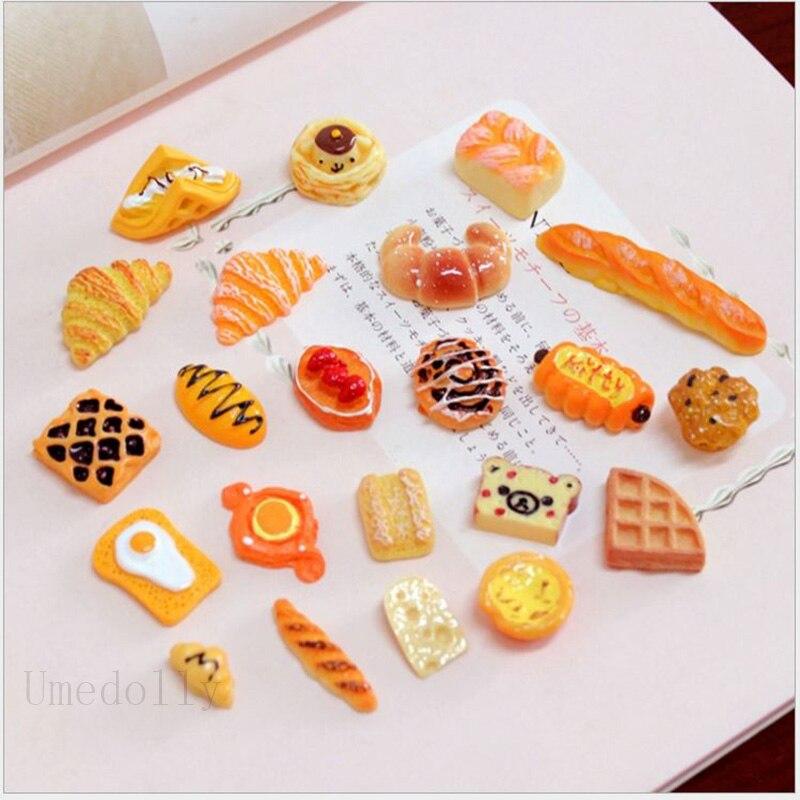 20 unids/set mezcla casa de muñecas miniatura simulación Cupcakes, pan, Muffin para jugar cocina Mini muñeca alimentos accesorios de juguete