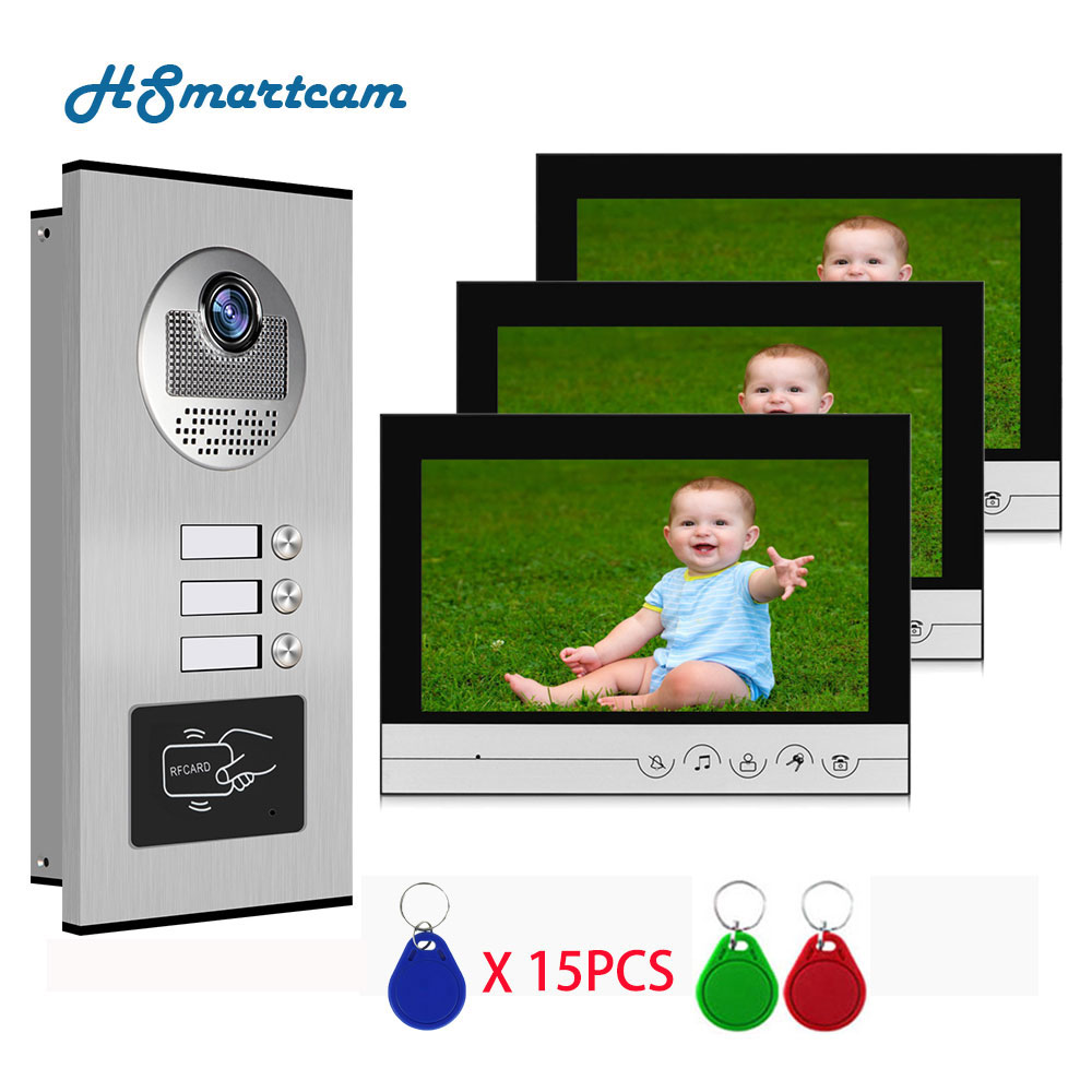 9 inch Screen Video Door Phone Doorbell Intercom System + RFID Access Camera for 4 / 3 / 2 Family Apartment Electric Lock enlarge