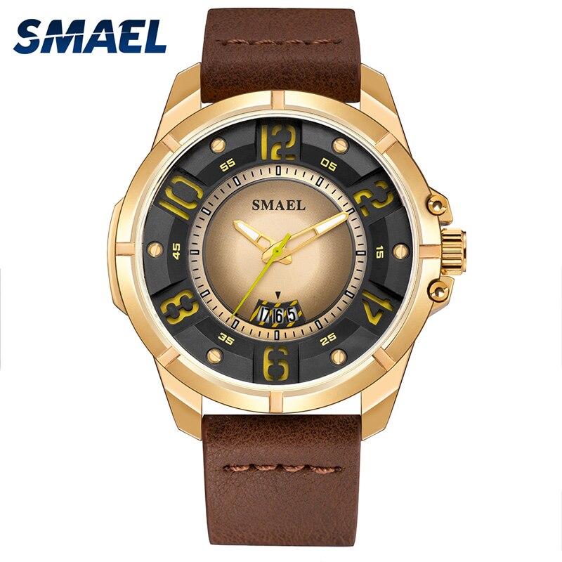 SMAEL Luxus Marke Männer Sport Uhren Braun Leder männer Armee Militär Uhr Mann Gold Dail Analog Quarz Uhr horloges mannen