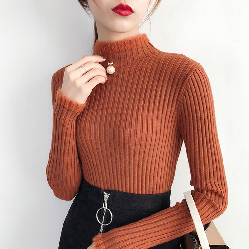 shintimes 2020 Winter Clothes Women Sweaters Tops Knitted Sweater Korean Turtleneck Fashion Beading Pullover Slim Woman