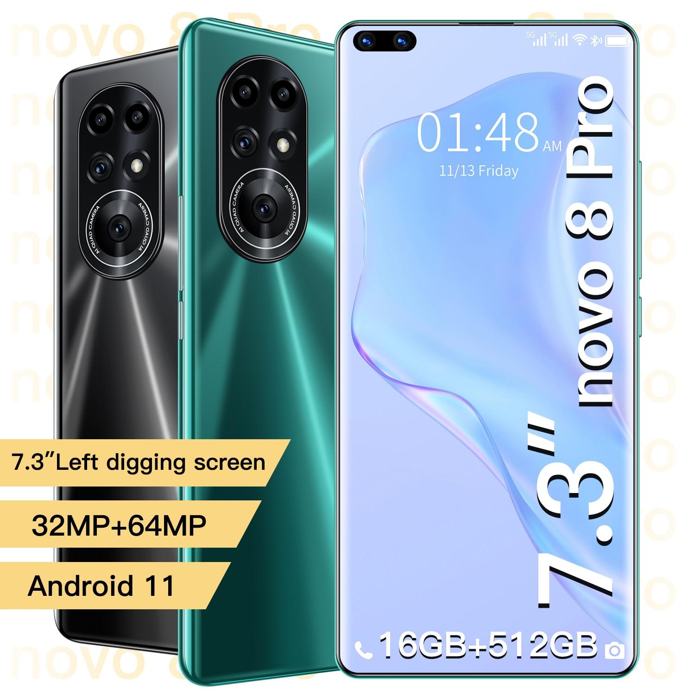 Novo8 Pro Smartphones Global Version 2021 5G LTE 16GB 512GB 7.3-Inch Andriod10 32+64MP 6800mAh 10 Core GPS Mobile Phone