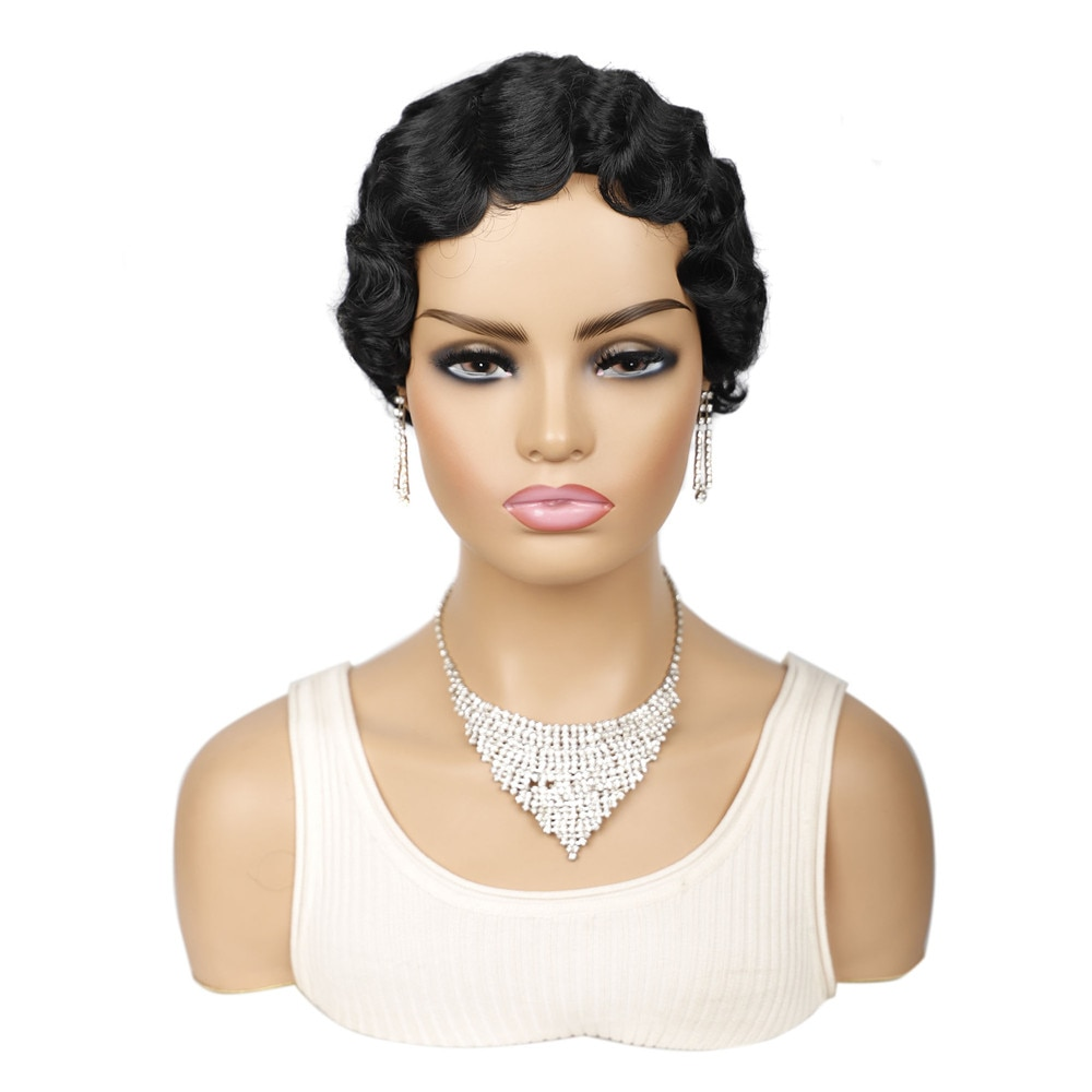 Synthetic Short Finger Wave Wigs Pixie Cut Black Brown Cute Ombre Mix Color Afro Wigs for Women Heat Resistant Fiber