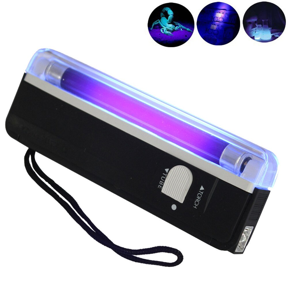Linterna UV de mano 4W UV negro luz antorcha luz negra portátil con LED falso dinero comprobar linterna de bolsillo portátil