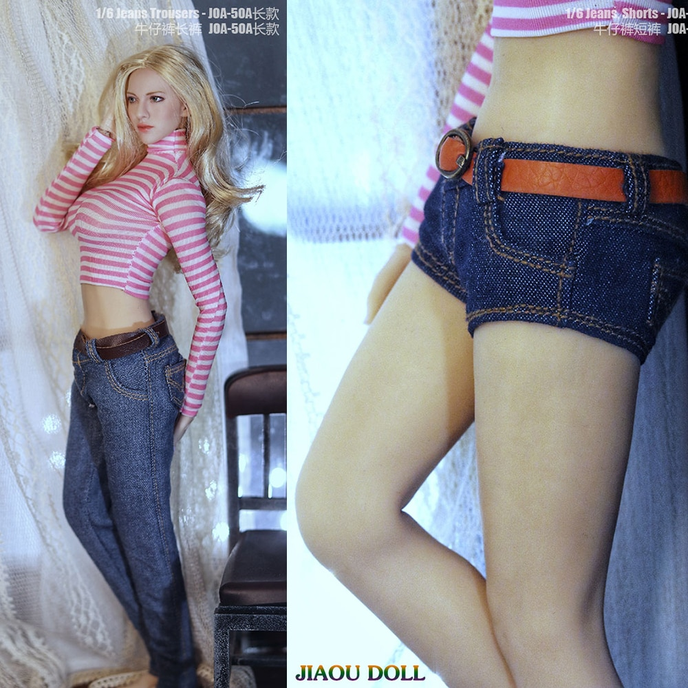 In Stock 1/6 Scale Sexy Female Soldier Figure Accessory Low-rise Jeans Long Jeans Model for 12 inch Action Figure Body