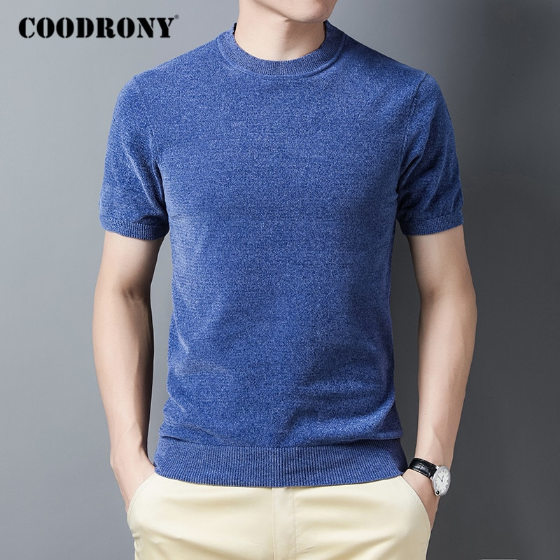 Coodrony marca camisola masculina manga curta o pescoço pulôver roupas masculinas outono inverno moda casual fino ajuste jumper suéteres c1185