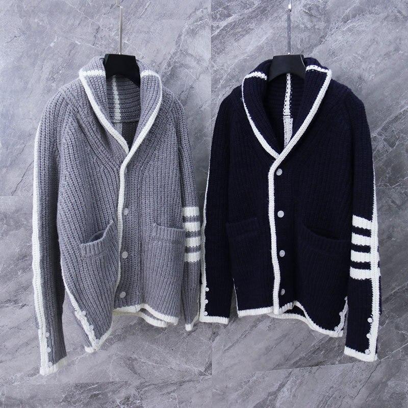2020 moda TB THOM marca suéteres mujeres Slim Turn Down Collar Cardigans ropa de rayas de lana sólido grueso abrigo Casual de invierno