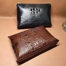 Authentique véritable Alligator cuir hommes daffaires décontracté bracelets sac grande enveloppe sac à main véritable peau de Crocodile mâle ordinateur portable pochette