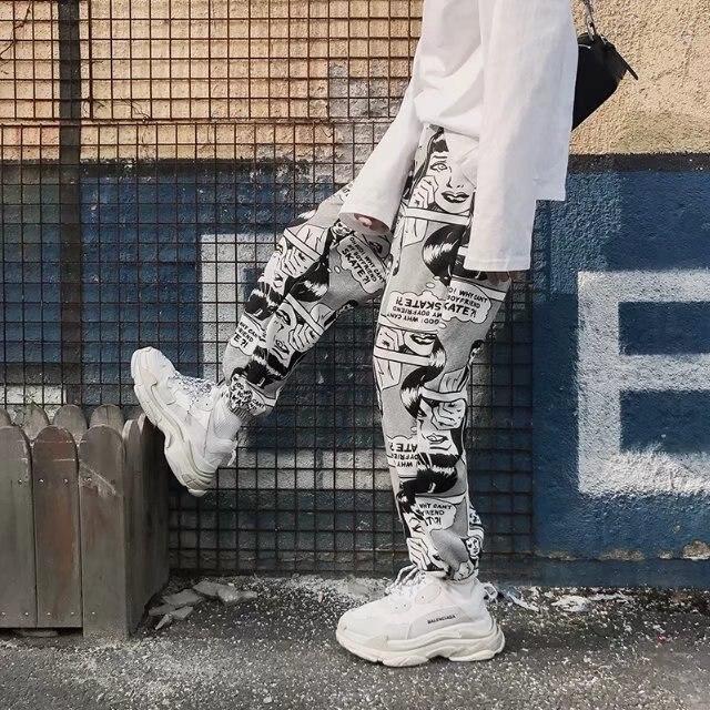 Брюки мужские спортивные на шнуровке, Модные свободные повседневные джоггеры с мультяшным принтом комиксов, эластичные джоггеры с завышен...