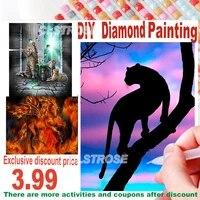 5D Diamant Peinture Diamant Carre Rond Bricolage Cadeau Noir Leopard Under The Rainbow Maison Decoration Kit de Point De Croix Mosaique C