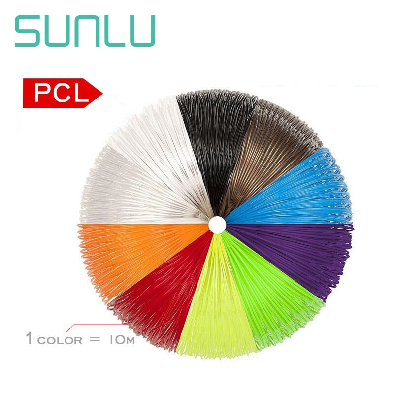 3D Pen Filament colorful 1.75mm PCL 3d pen filament refills with 50 mters 10 colors 5m/pack 60-90 degree C Print Temp