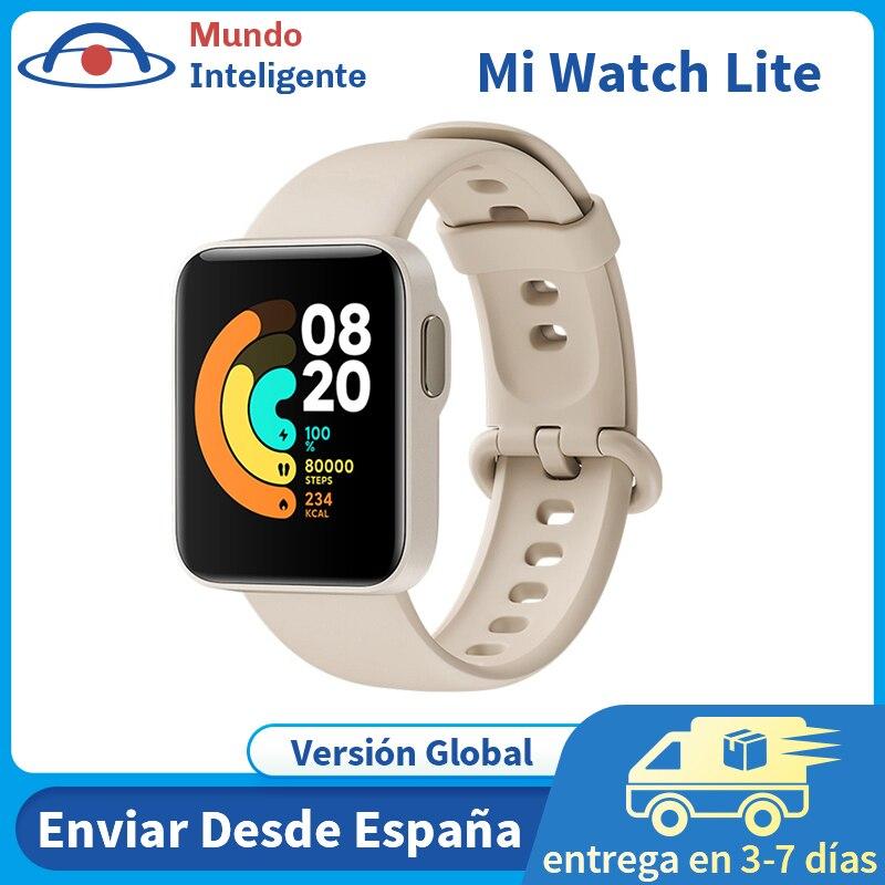 Versão global xiaomi mi relógio lite gps glonass esportes pulseira inteligente 5atm à prova dwaterproof água mi banda monitor de freqüência cardíaca fitness