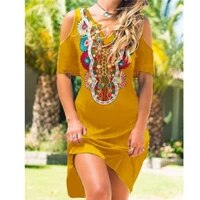 cold shoulder v neck tribal dresses women fashion casual off shoulder o neck short sleeve dresses plus size bohemian dress
