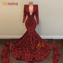 Luxe robe de bal 2020 col en v manches longues Sequin africain noir fille sirène Gala formelle fête robes de soirée
