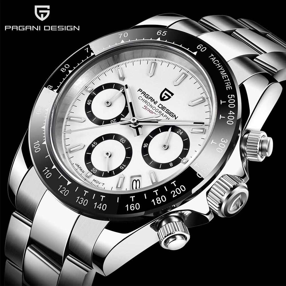 Reloj de cuarzo PAGANI de diseño a la moda para hombre, reloj deportivo para hombre de acero inoxidable, cronógrafo resistente al agua, relojes para hombre de marca superior de lujo