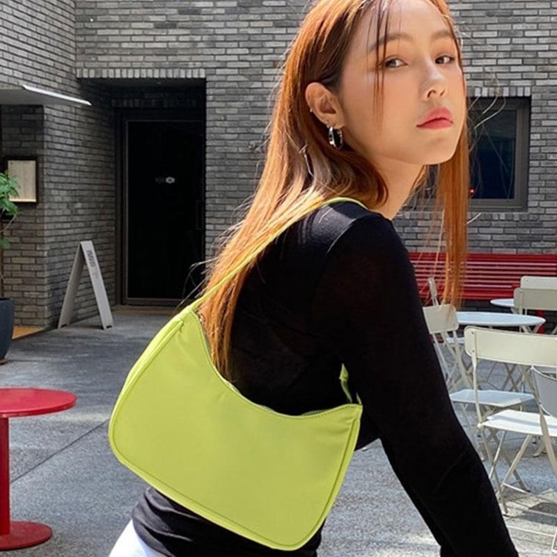 Cheap Trendy Vintage Fashion Casual Designer Baguette Mini Shoulder Bag Nylon Handbag Female For Wom