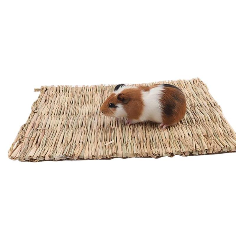 Hámster hierba Alfombra tejida pequeña mascota nido ardilla conejillo de indias conejo hurón comestible Molar hecho a mano heno alfombra mascotas accesorio para jaula