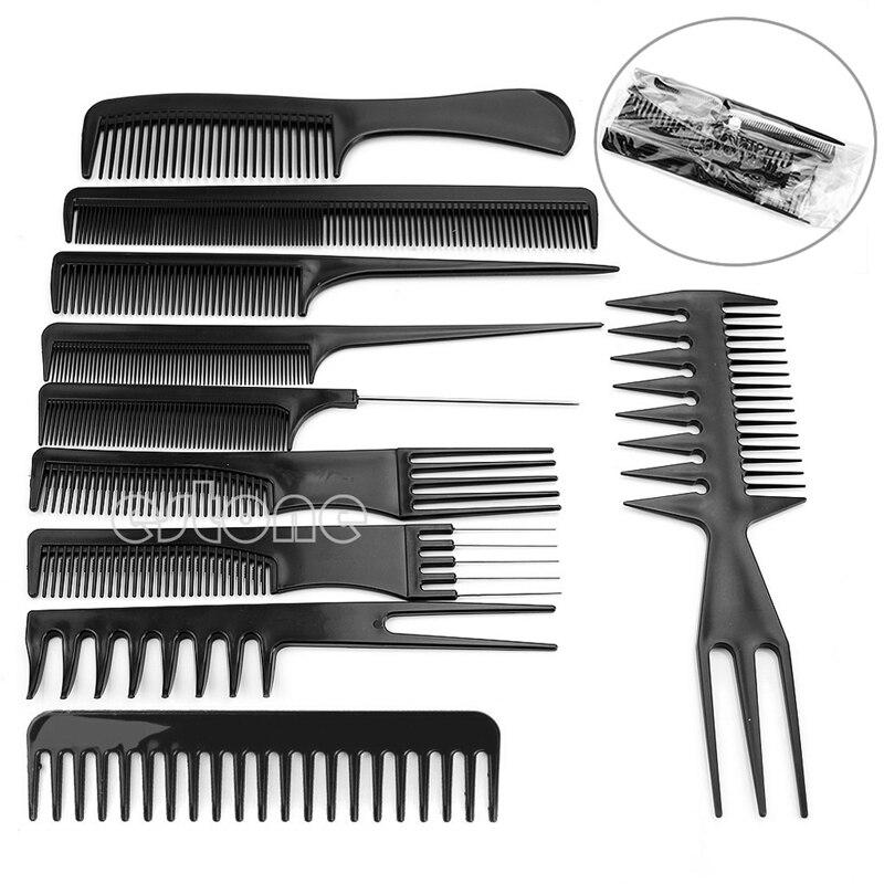 Drop Ship 10Pcs Black Pro Salon Hair Styling Hairdressing Plastic Barbers Brush Combs Set
