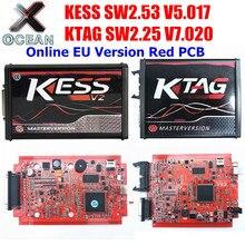 En ligne KTAG V7.020 V2.25 4LED K-TAG V7.020 KESS V5.017 V2.47 V2 KESS V2.47 5.017 programmeur de cadre BDM