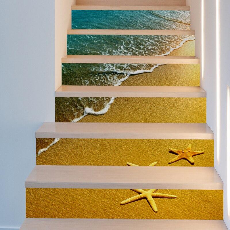 6 piezas de diseños creativos de bloques de adhesivos 3D DIY para escalera para la decoración de las escaleras de la habitación decoración de suelo del hogar pegatina de pared PC994230