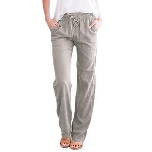 Women Pants Straight High Waist Pants Plus Size Women Elastic Waist Long Wide Leg Casual Trousers Women Clothing Loose Pants