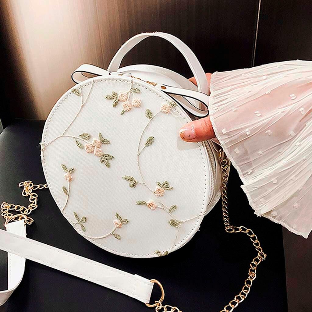 Bolso de hombro para mujer n. ° 30, bolso de hombro redondo con patrón de Color sólido, bolso de diseñador, bolso de mano fresco de encaje a la moda para mujer, bandolera