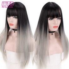 Wtb preto cinza ombre longa reta perucas sintéticas com franja para cabelo feminino 26 Polegada uso diário festa perucas naturais